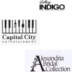 Logos designed for Gallery Indigo, Capital City Entertainment and Alexandria Bridal Collection.
