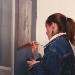 Ellen Signing a Mural done in a home